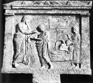 Ο Ασκληπιός, η κόρη του Υγέια και το ιερό φίδι θεραπεύουν ασθενείς