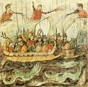 Μικραγραφία του 5ου αιώνα που παριστάνονται δύο δαίμονες του καιρού